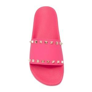 New Valentino Rockstud Rubber Slides Pink SZ 37